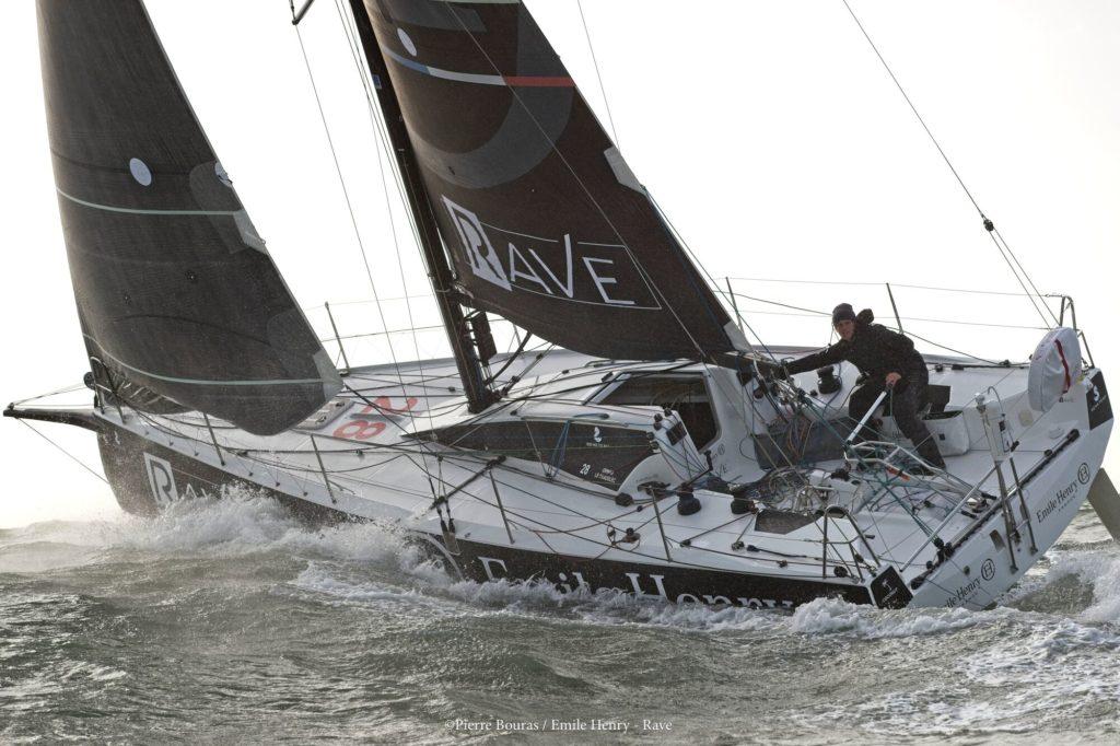 Erwan le Draoulec à bord du Figaro 3 Emile Henry / RAVE